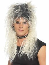 Mens Blonde Hard Rocker Wig 2 Tone Fancy Dress Rock Star Goth Stag Festival
