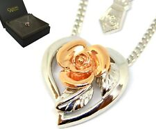 Clogau Silver & Welsh 9ct Gold Royal Rose Pendant Necklace rrp £199