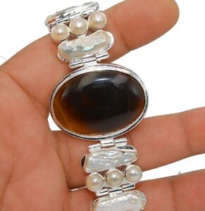 Natural Agate & Biwa Pearl 925 Solid Sterling Silver Tennis Bracelet Jewelry