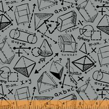 S.T.E.M. STEAM Science Math Windham Cotton Quilt Fabric 51264 4 Gray