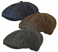 MEN's 8 PANEL WOOL PEAKY BLINDERS HERRINGBONE BAKER BOY NEWSBOY FLAT CAP HAT