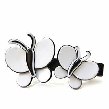 Moliabal Milano Large Barrette-  Black | Dual White Butterfly Accent