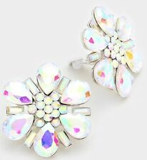 """1.5"""" Big Clip On Stud Aurora Borealis Ab Silver Clear Pageant Crystal Earrings"""