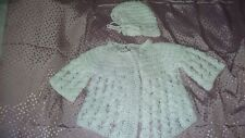 Vtg/Retro Baby Clothes/Doll Clothes, Knitted White Sweater And Bonnet
