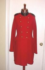NWT Ralph Lauren RED wool Military Coat Long jacket blazer w/black velvet/gold S