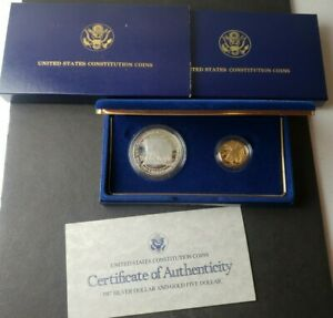 1987 United States Mint Constitution Commemorative Two-Coin Proof Set