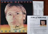 John Denver PSA DNA Coa Signed One World Album w/ Vinyl Autograph