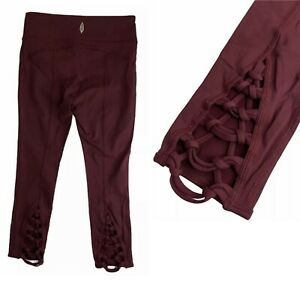 Free People Movement Kali Crop Braided Leggings Womens Sz S Wine Yoga Activewear