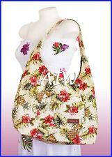 Large Hawaiian print hobo bag w/top zipper - 173Cream