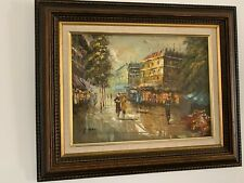 Mid-century Modern Abstract French oil Painting Parisian Street Scene
