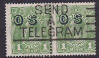 G655) Australia 1932 KGV C of A wmk 1d Green optd 'OS' horizontal pair