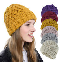 Women's Winter Warm Wool Knitted Hat Beanie Fashion Cap Thick Wool Hat Stylish
