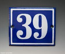 EMAILLE, EMAIL-HAUSNUMMER 39 in BLAU/WEISS um 1950