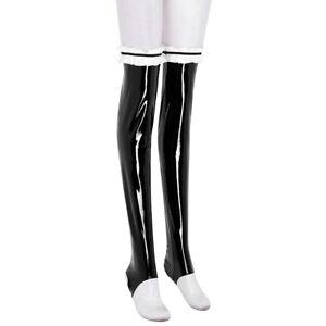Women's Sexy Leather Stockings Ruffled  Long Socks Nightclub Pantyhose Clubwear