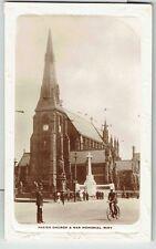 Street Scene with War Memorial, Bury, Lancashire. Real Photo Postcard.  RP