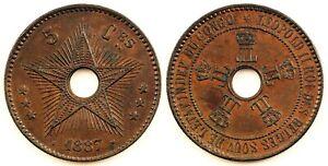 Africa - Congo Belga. 5 centimos 1887. EBC+/XF+. Cobre 10,2 g. Escasa
