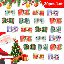 20pcs Christmas Dog Hair bows With Rubber Bands Pet Grooming Bowknot Accessories