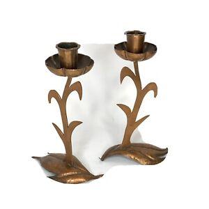 Vintage Handmade Pair Candle Sticks Copper  Arts Crafts Folk Art 1930's