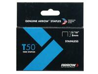 """ARROW Stainless Steel Staples 5//16/"""" T50 #505SS1 BRAND NEW"""