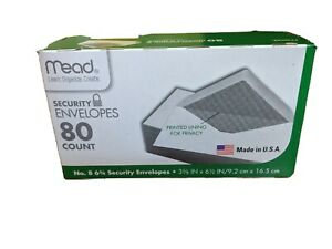 NEW MEAD SECURITY ENVELOPES PRINTED LINING FOR PRIVACY 80 COUNT FREE SHIPPING...