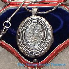 Antique Victorian Sterling Silver Repousse Large Picture Locket Leaves Design