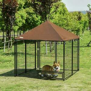 Outdoor Dog House Kennel with Canopy Top & Secure Lock Rotating Bowl Holder
