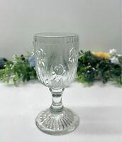 "Vintage Jeannette Glass Iris & Herringbone 4 1/4"" Wine Glass Clear 1928 - 1932"