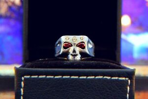Johnny Depp Skull Ring with Red Garnet and Zirconia Stones Handcrafted