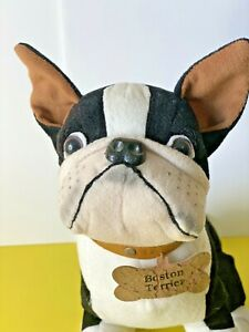 "Plush Dog Boston Terrier 14"" Stuffed Animal Toy Black & White with ID collar"