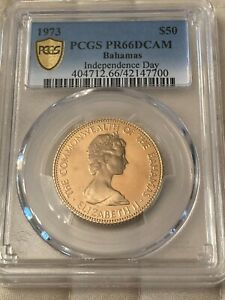 1973 $50 Bahamas Independence Day Gold Coin PCGS PR66DCAM