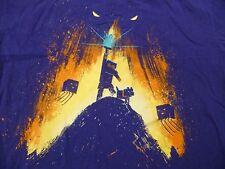 Minecraft T-Shirt Youth Large L 14/16 Steve on Hill w/ Shining Sword Purple Kids