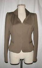 Elie Tahari Tawny Brown Wool/Cotton Stretch Tailored Cropped Button Blazer Jkt 8
