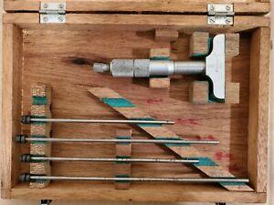"""Vintage Mitutoyo .001"""" Depth Micrometer Gauge Set Made in Japan In Original Box"""