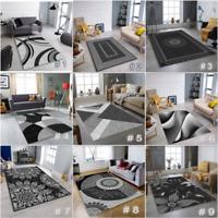 MODERN DESIGN SILVER GREY BLACK RUG LARGE LIVING ROOM FLOOR BEDROOM CARPET RUGS