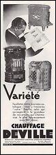 Publicité Chauffage DEVILLE Poele  photo vintage print ad  1950 - 11h