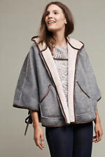 ANTHROPOLOGIE - RIVERSABLE FLEECE CHAMBRAY PONCHO size 12 L Blue NEW $298