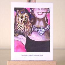 Yorkie y Audrey Hepburn Yorkshire Terrier ACEO tarjeta de arte