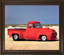 Ford F-100 Harley Koopman Vintage Pickup Truck Wall Decor Framed Picture (19x23)