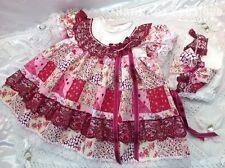HANNAHS BOUTIQUE 6-9 MONTH BABY FRILLY DRESS & BONNET SET