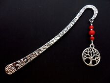 A TIBETAN SILVER  TREE OF LIFE  CHARM & RED CORAL BEAD  BOOKMARK. NEW.