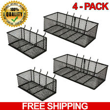 4-PACK Wall Peg Board Baskets Garage Storage Organizer Pegboard Bins Steel Tool