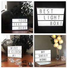 A4 Light Up Display Box DEL Lettre Mot MARIAGE FÊTE CINEMA Signe Rétro message