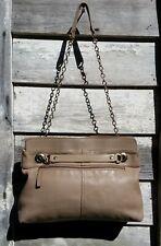 J CREW Beige Khaki Glove Leather Chain Strap Shoulder Bag M (Offer)