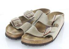 R46 $135 Women's Sz 40 N Birkenstock Arizona Suede Soft Footbed Sandal -Taupe