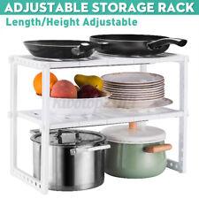 US Under Sink 2 Tier Expandable Shelf Organizer Rack Storage Kitchen Tool Holder