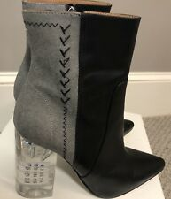 NIB Black Leather Gray Suede Maison Margiela Boots with Acrylic heels  $1515