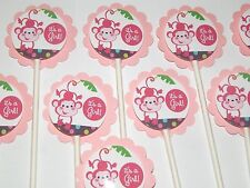 30 BABY MONKEY NOAH ANIMALS IT'S A GIRL Cupcake Toppers Favors, Baby Shower 30