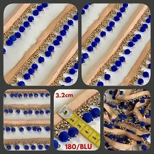1 Yd (environ 0.91 m) Velours Bleu Frange Bordure en or Rideau Upholstery Craft Trim Sewon 3.2 cm