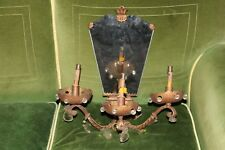 SINGLE HUGE AUTHENTIC MIRRORED MAISON BAGUES c1910 GILT IRON LUXURIOUS SCONCE