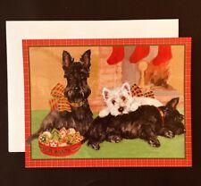 Scotty Dog Puppy Christmas Cards - Set of 5 - Black & White Scottie New {20}